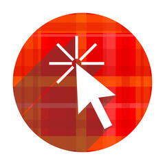 click here red flat icon isolated