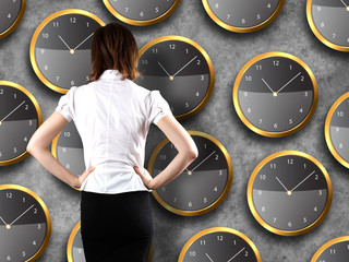 Businessman standing - time strategy concept