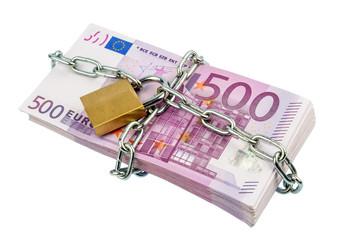 Euro-Geldscheine mit Kette und Vorhängeschloss