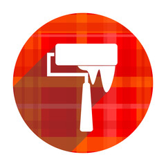 brush red flat icon isolated
