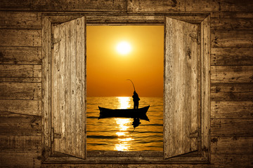Wooden Window and Fishing