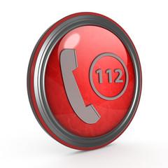 112 circular icon on white background