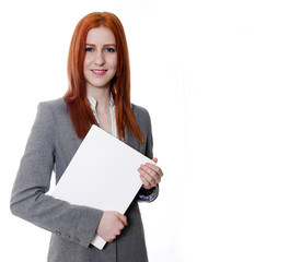 Young business woman on white background holding white folder