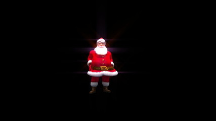 Santa throws a snowball into camera transition with glow effects