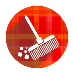 broom red flat icon isolated