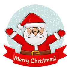 Christmas card with Santa. Vector illustration.