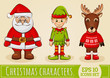 Christmas characters: Santa, elf and reindeer. Vector set.