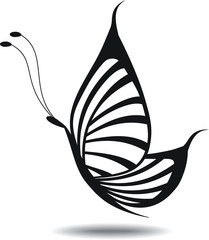 Butterfly silhouette Isolated. Tattoo