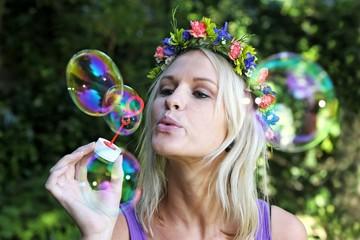 Pretty Bubble Blower Girl