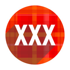 xxx red flat icon isolated