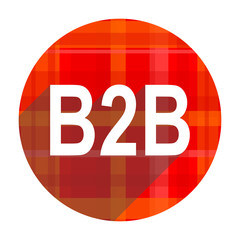 b2b red flat icon isolated
