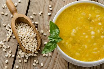 Barley soup, close-up