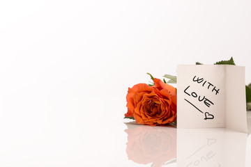 Single orange rose With Love