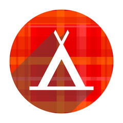 camp red flat icon isolated