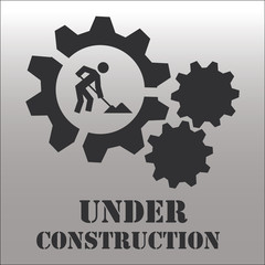 Under construction over gray color background
