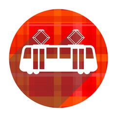 tram red flat icon isolated