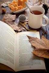 book on the table in autumn