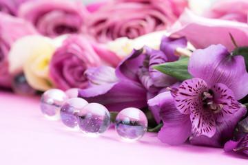 beautiful flowers and glass ball