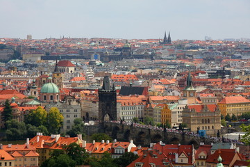 Old Prague panorama with Charles bridge