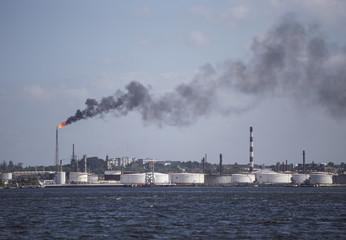 Oil refinery in Havana, Cuba