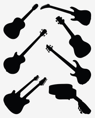 Black silhouettes of different guitars. vector