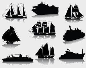 Black silhouettes and shadows of ships, vector