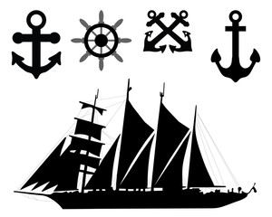 Vector  illustration of  anchors, rudders and sailboat