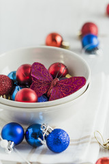 Christmas ornaments and butterfly