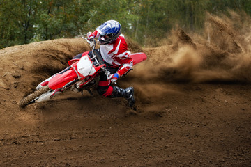 Rider driving in the motocross race