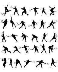 Black silhouettes  of tennis player, vector