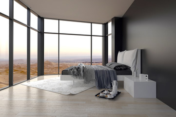Elegant Bedroom Design with Glass Walls