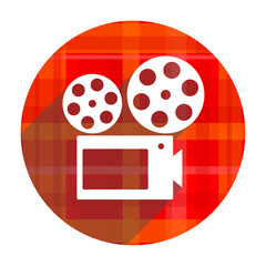 movie red flat icon isolated
