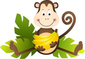Monkey Sitting with Bananas