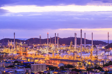 Oil refinery at the twilight
