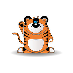 A cartoon illustration of a tiger cub with a goofy expression.