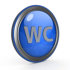 WC circular icon on white background