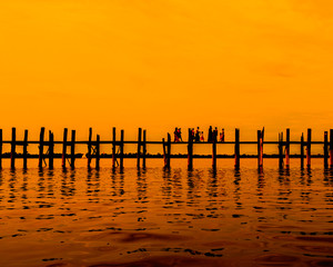 U bein bridge at Taungthaman lake in the sunset, Myanmar