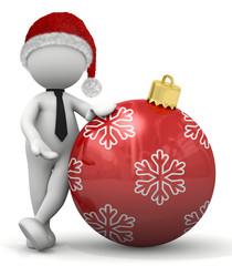 omino bianco con pallina di Natale