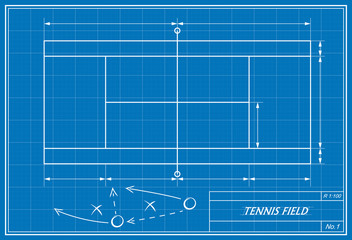 tennis court on blueprint