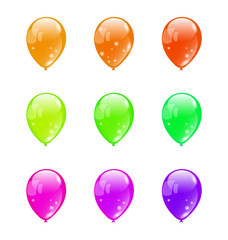 Set colorful balloons isolated on white background (2)