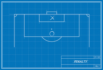 soccer penalty kick on blueprint