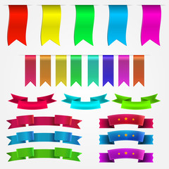 Illustration of colored ribbons set