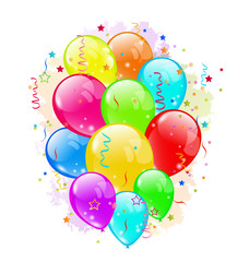 Set party balloons and confetti on white background