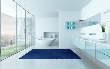 Modern design white bathroom interior