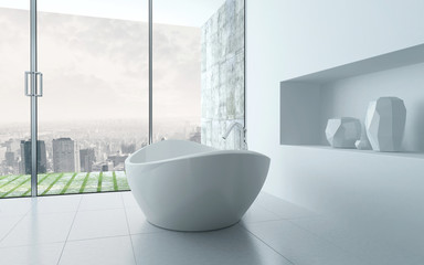 Freestanding bathtub in a modern bathroom interior