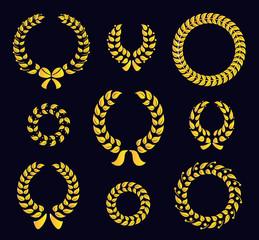 Set of silhouette circular laurel wreaths