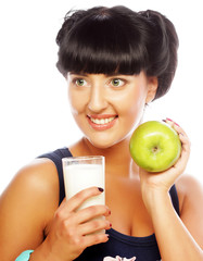 woman with apple and milk