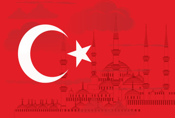Turkey symbol with Blue mosque vector