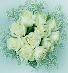 bouquet of white roses eleven. Toning