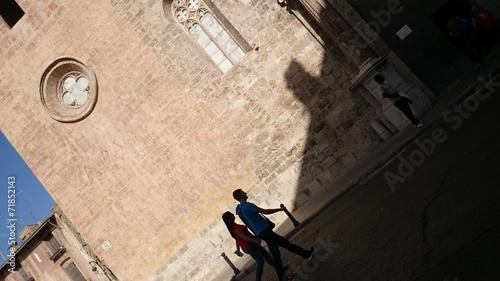 canvas print picture Pareja e iglesia